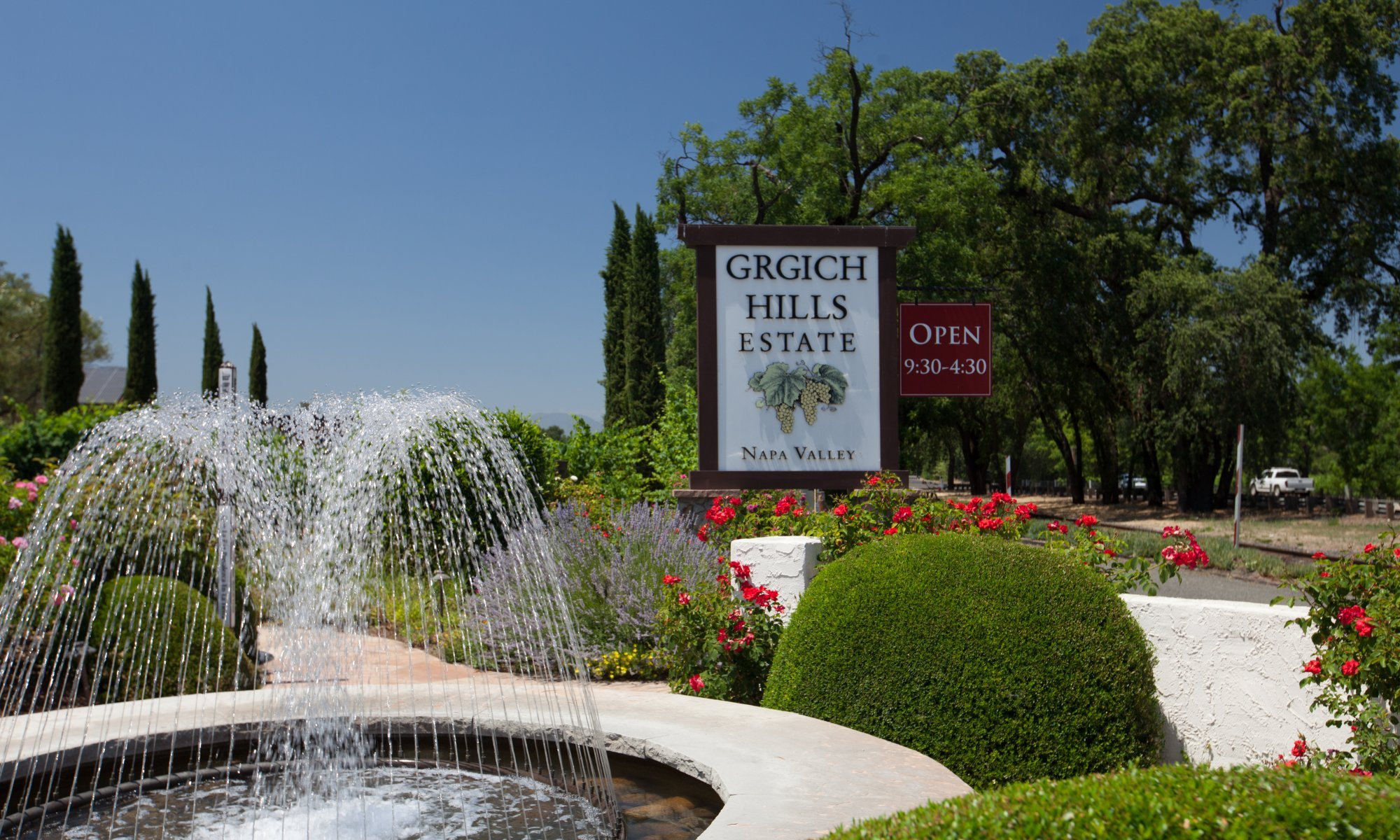 Fountain and entrance sign at Grgich Hills Estate Napa Valley