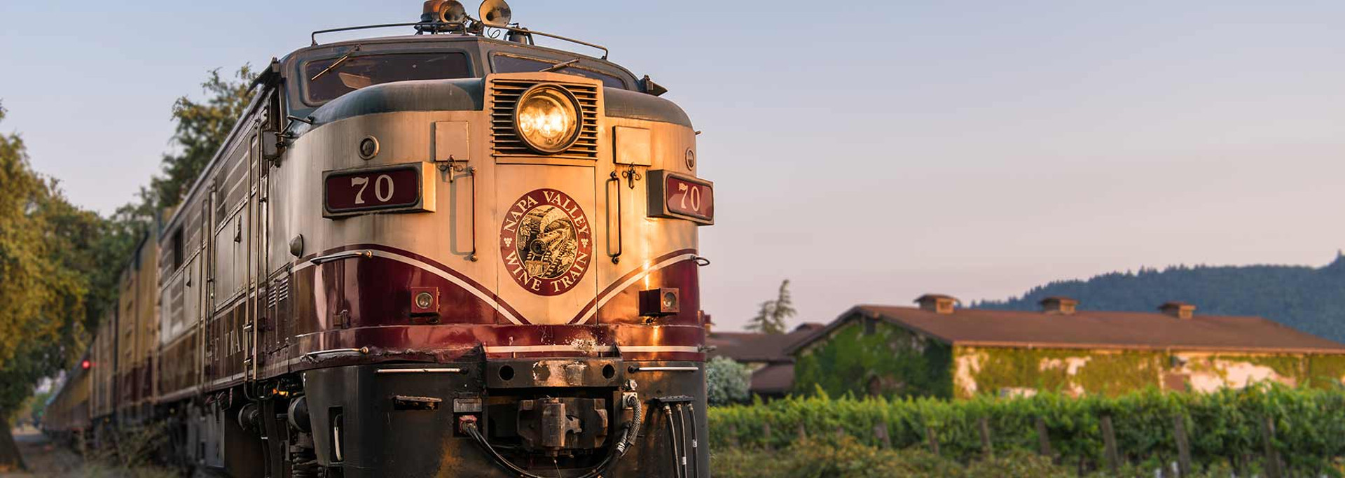 exterior of Napa Valley Wine Train travelling through vineyard with vine-covered building in background