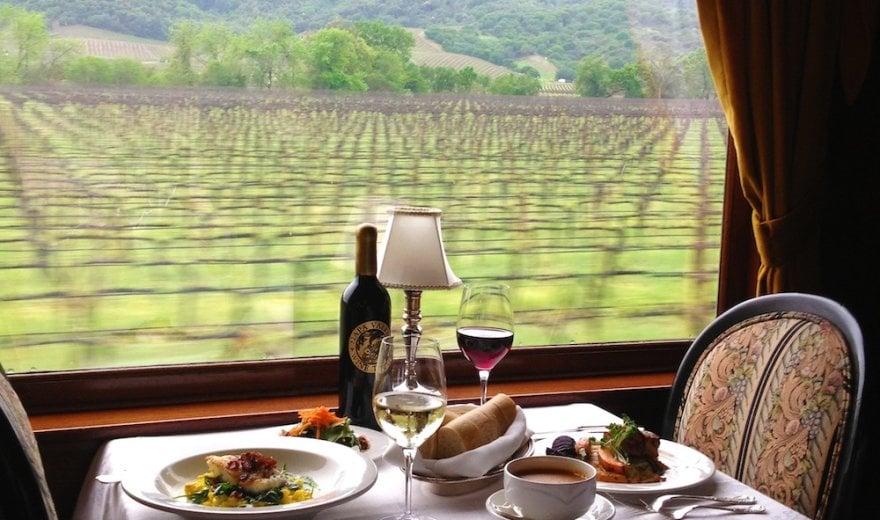 Wine Train Dinner as train rolls by vineyards