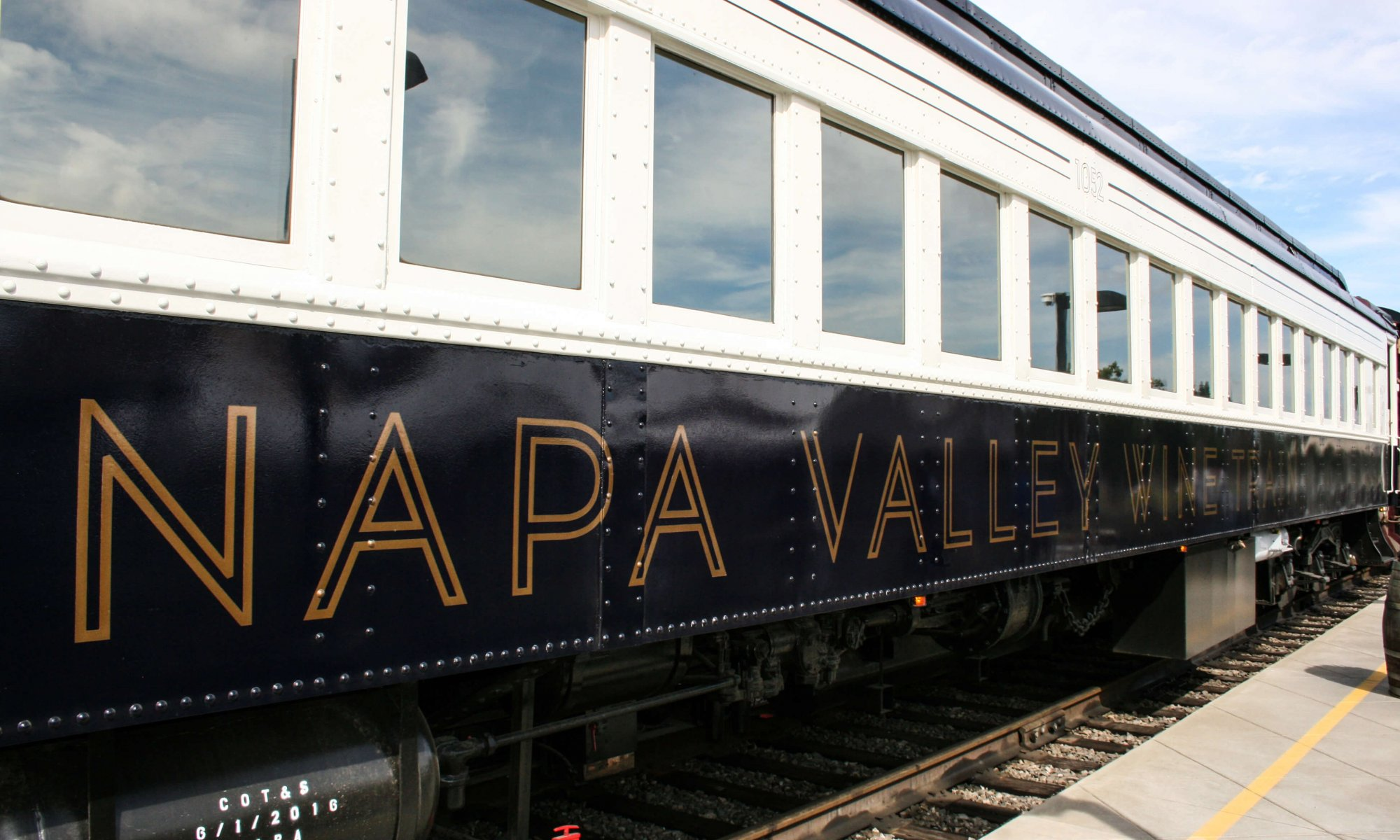 exterior close-up shot of Napa Valley Wine Train with logo on the side