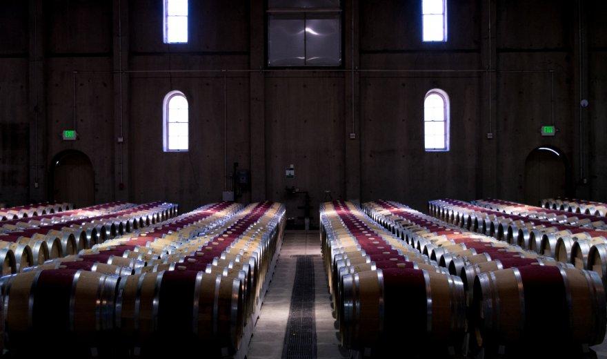 A cellar full of wine barrels in Napa Valley