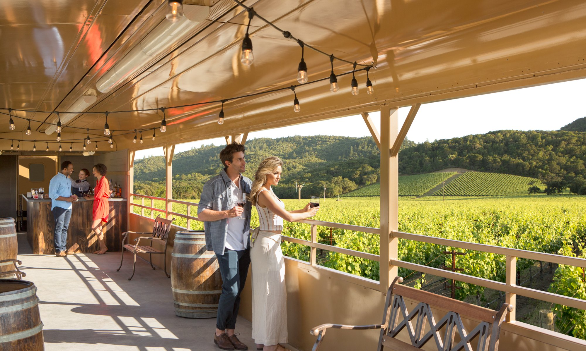 Couple enjoying vineyard view during wine tasting on Napa Valley Wine Train