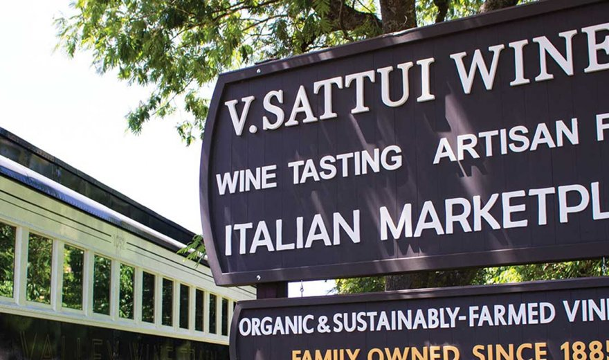 V. Sattui Winery sign at winery entrance in Napa Valley