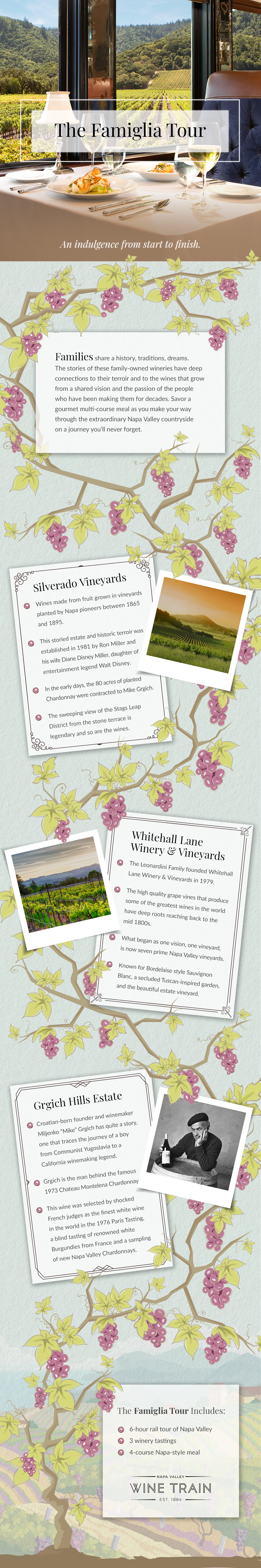 An infographic on the family owned vineyards in Napa Valley.