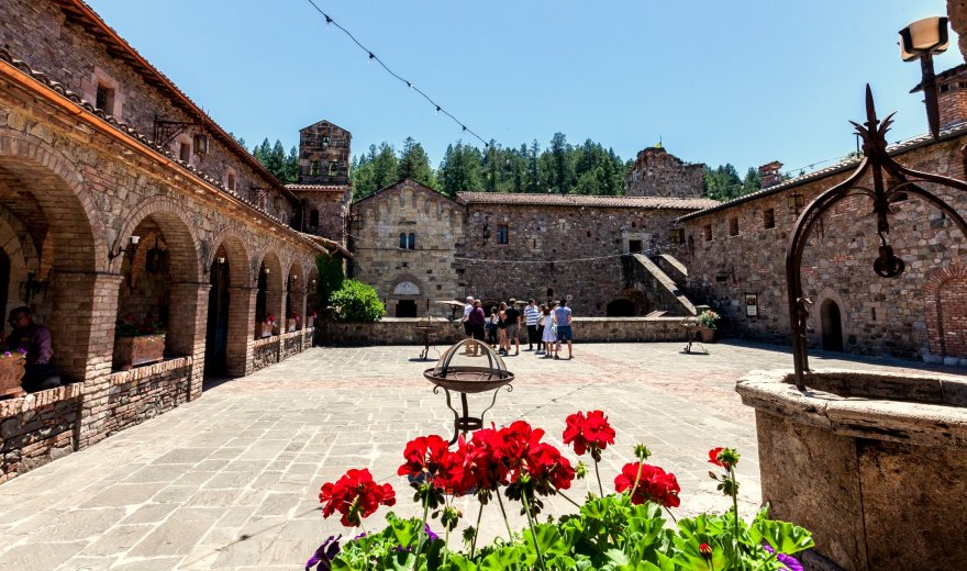 Group of people standing in a castle courtyard with red flowers in the foreground