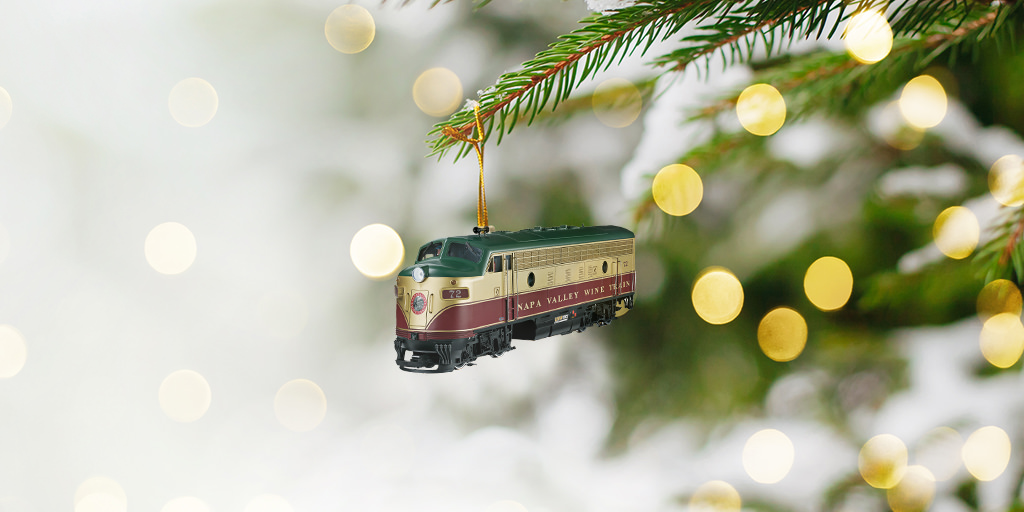 Napa Valley Wine Train holiday ornament hung on a tree Christmas tree