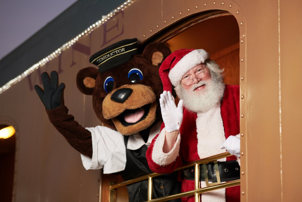 Santa Clause waves from the Napa Valley Wine Train