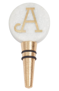 Monogrammed, marble wine bottle stopper with the letter A.