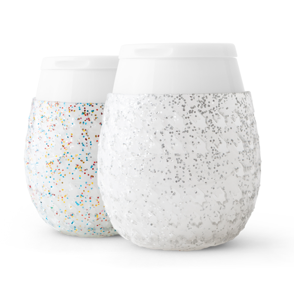 White and sparkly Goverre stemless wine glasses.