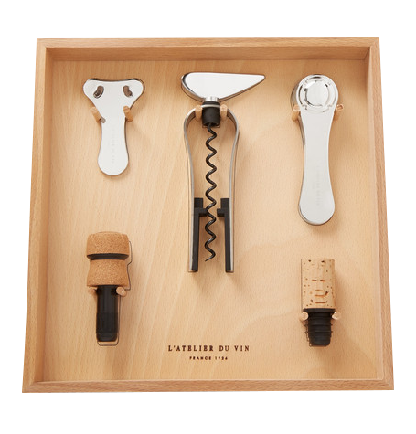 Wooden and stainless steel wine tool kit.