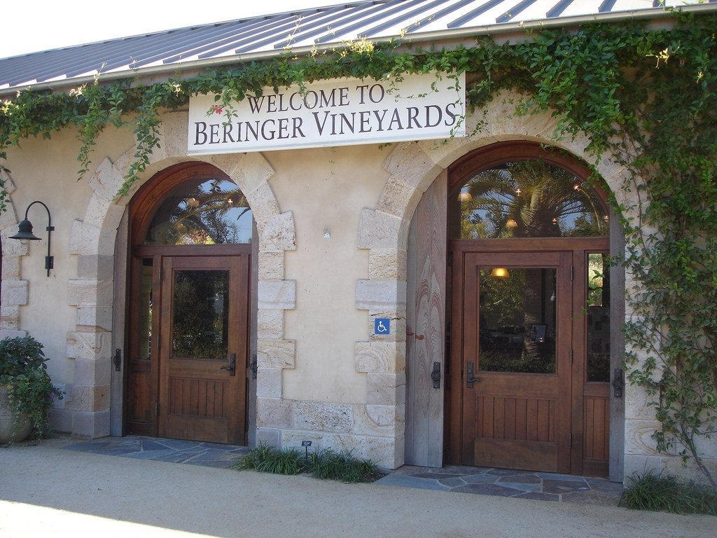 The vined entrance to Beringer Vineyards.