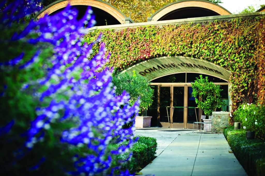 The landscaped entrance of the Domaine Chandon winery in Napa.