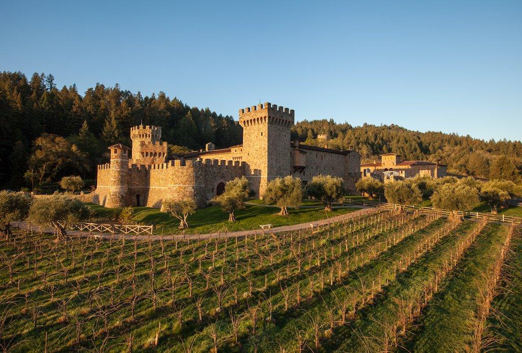An aerial view of the Castello Di Amorosa castle estate in Napa, California.