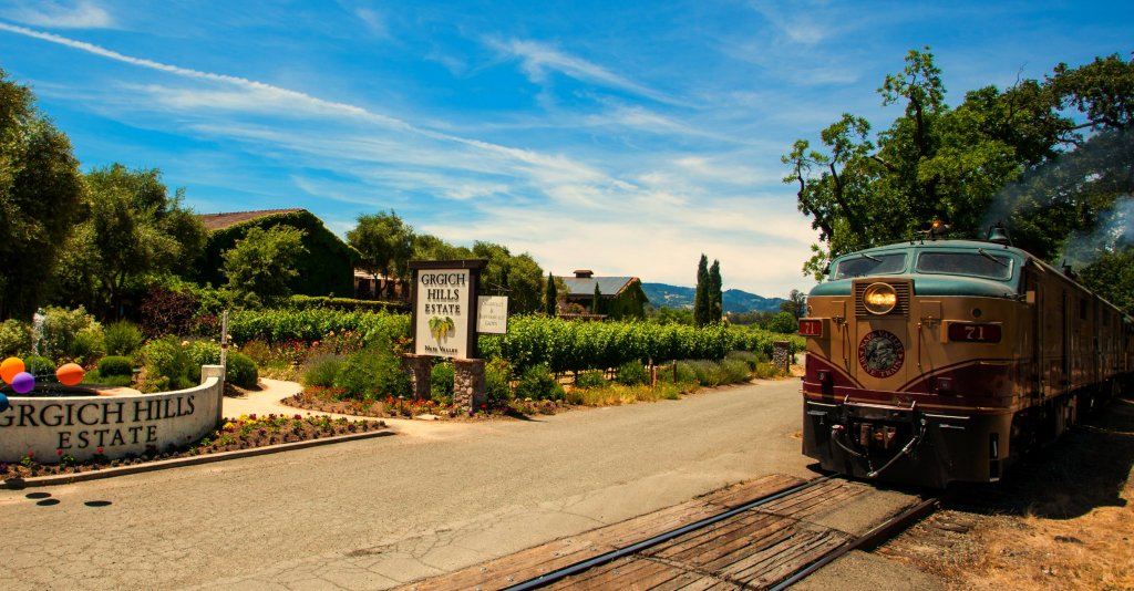 The Napa Valley Wine Train arrives at the Grgich Hills Winery in California.
