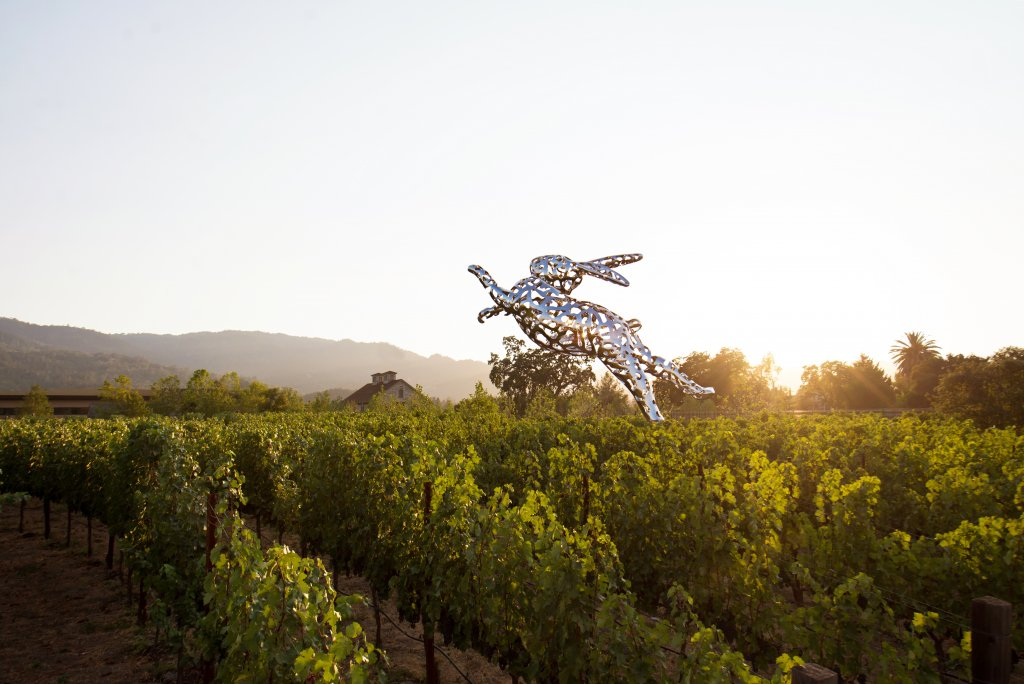 A large rabbit sculpture in a Napa Valley vineyard.