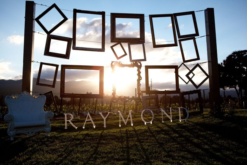 Colorful picture frames silhouetted by a Napa Valley sunset.