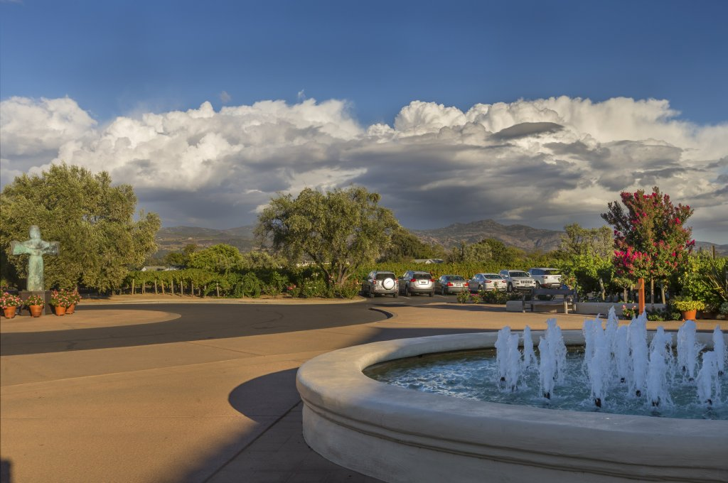 The fountain and view in the front yard of Robert Mondavi Winery.
