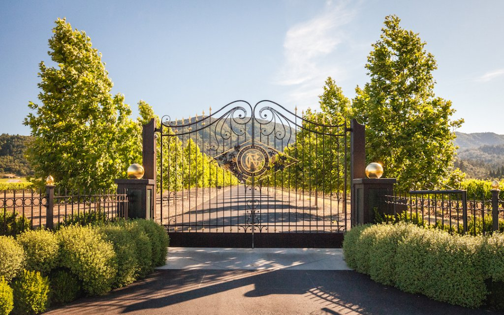 The gilded entry gate to Inglenook winery and estate.