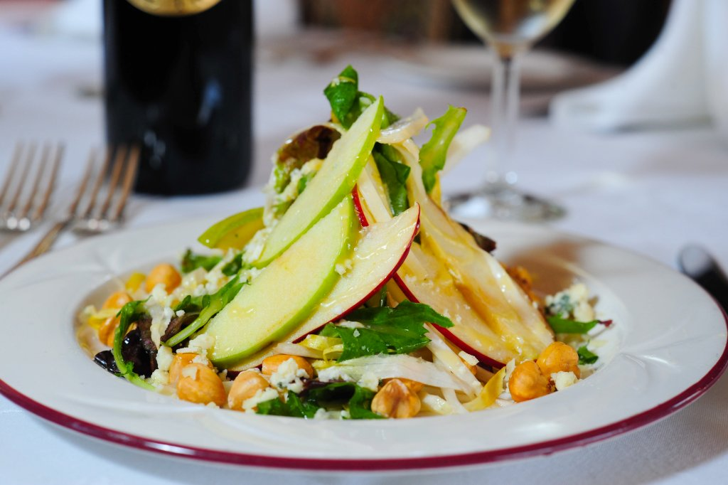 A fresh salad with apples aboard the Napa Valley Wine Train