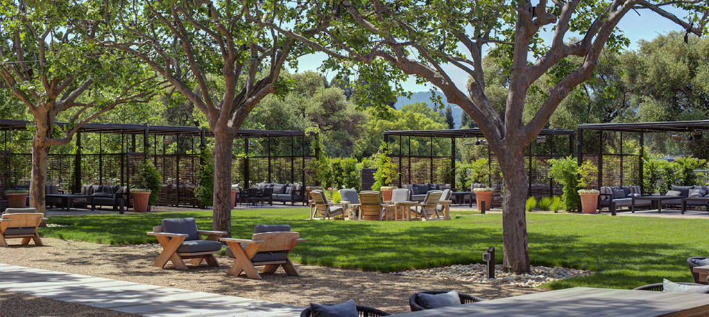The outdoor tasting area at Louis M. Martini Winery in Napa Valley.