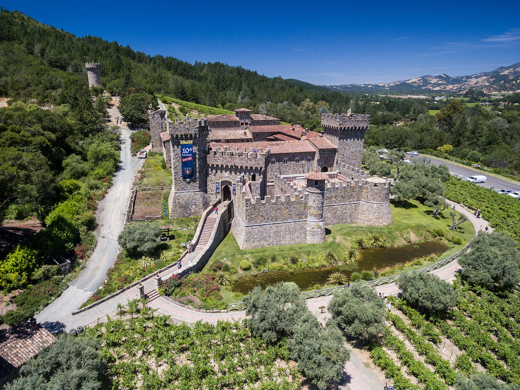 Aerial view of Castello Winery in Napa Valley
