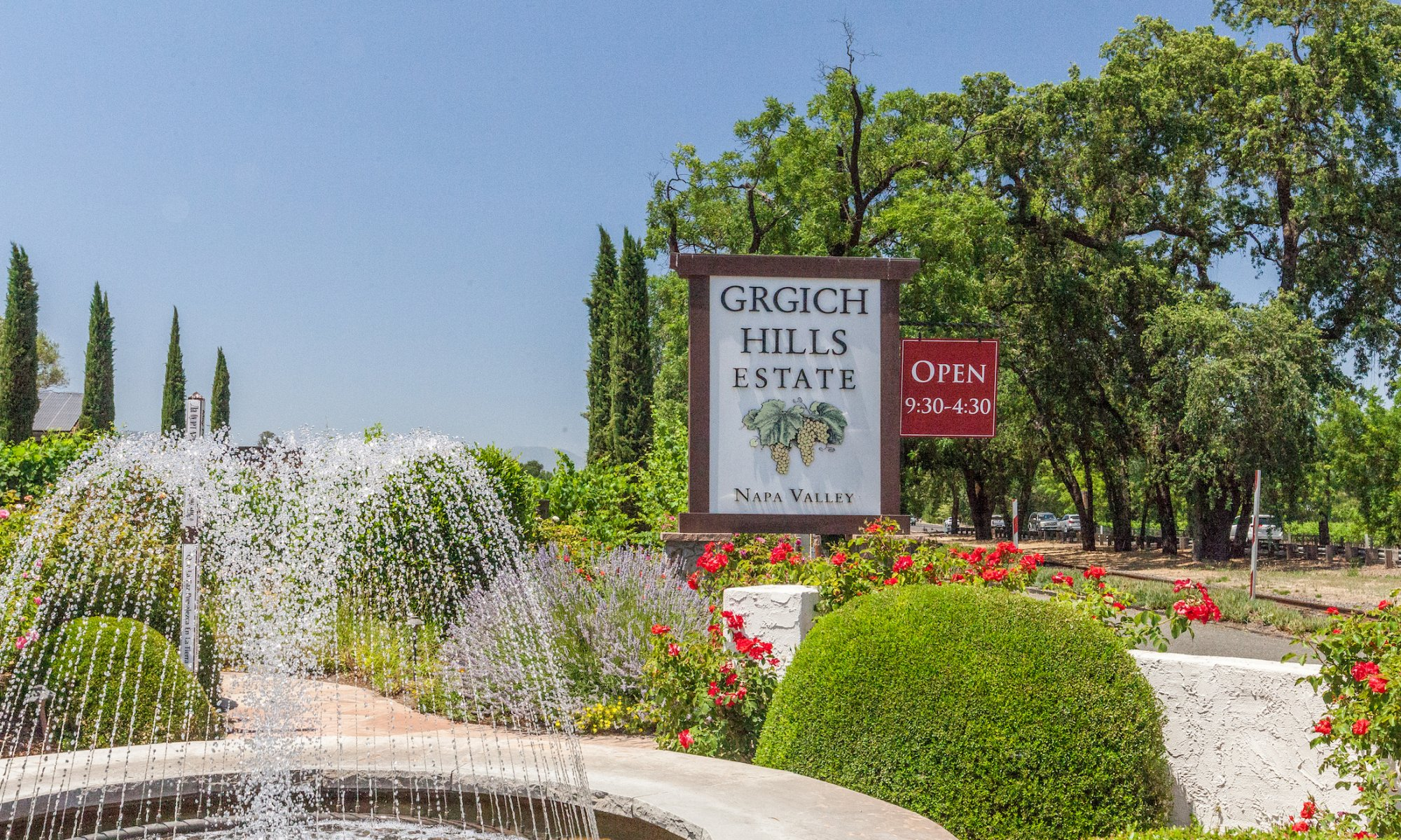 The entrance to Grgich Hills Estate Winery on a sunny day.