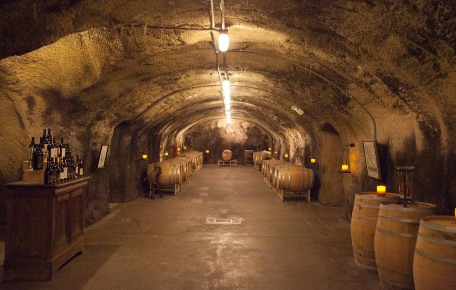 An underground wine cellar in Napa.
