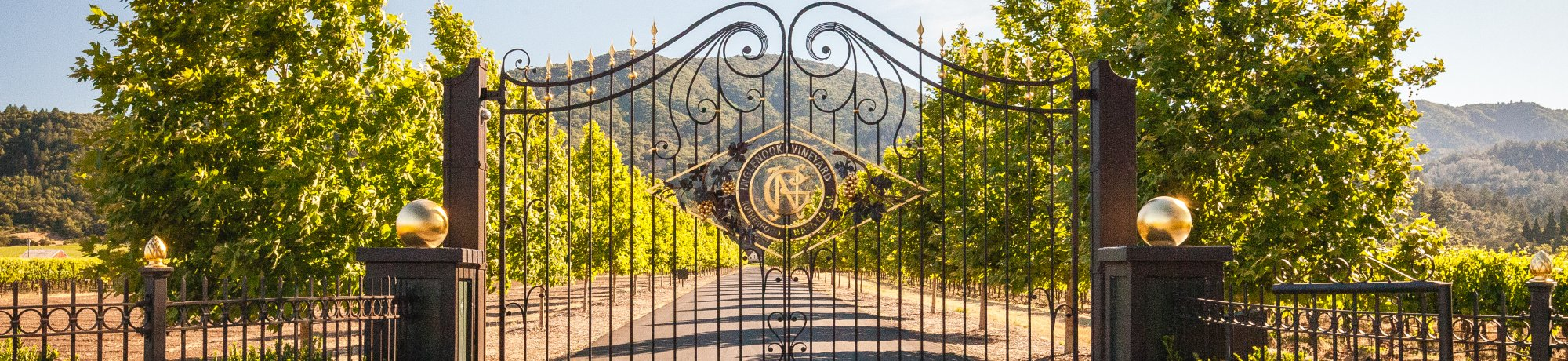 Wrought iron entrance gates to Inglewood Winery in Napa, California.