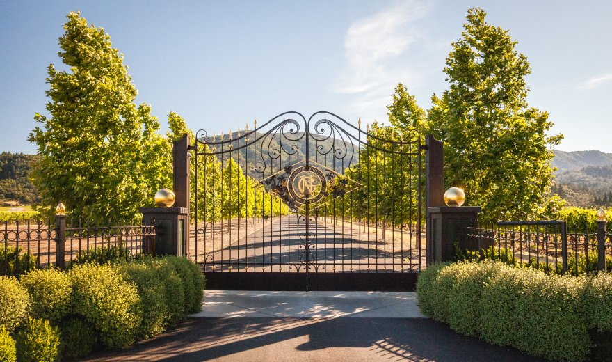 The entrance gates to Inglewood Winery in Napa, California.